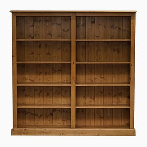 Large Solid Pine Double Bank Bookcase, 1980s