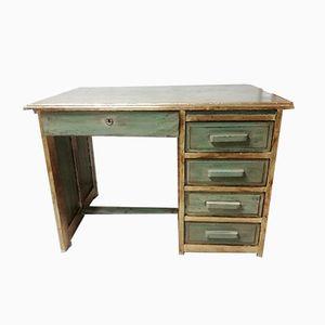 Vintage Schreibtisch aus Holz mit grüner Lackierung & Blattgold