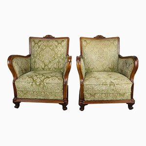 Antique Hungarian Fruitwood Chairs, Set of 2