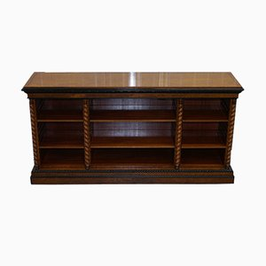 Antique Burr Walnut Break Front Open Bookcase
