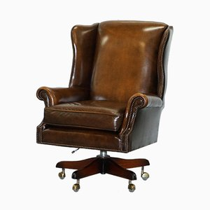 Large Brown Leather Wingback Office Chair from Art Forma, 1950s