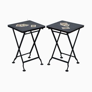 Antique Hand Painted Metal Folding Side Tables, Set of 2