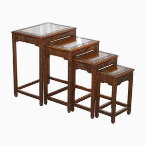 Chinese Teak Nesting Tables, 1930s