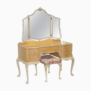 Toeletta Art Déco in radica di noce con sgabello e specchio di Maple & Co, anni '30