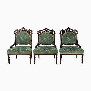Antike Sessel mit Gestell aus geschnitzter Buche, 3er Set
