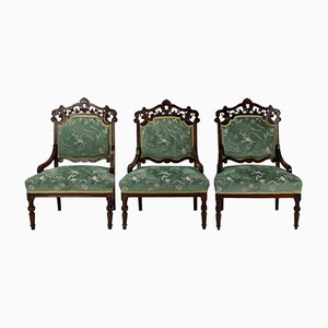 Antique Beech Carved Armchairs, Set of 3
