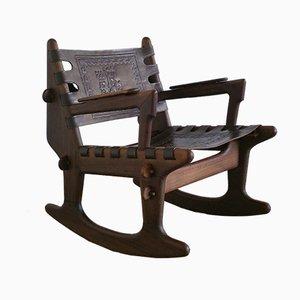 Sedia a dondolo in legno e pelle di Angel I. Pazmino per Muebles de Estilo, anni '60