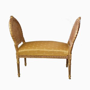 Sitzbank aus vergoldetem Holz im Louis XVI-Stil, 19. Jh.
