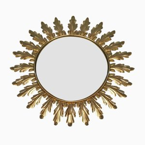 Brass Convex Sunburst Mirror from Deknudt, 1970s