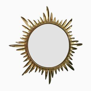 Gewölbter Spiegel mit Rahmen aus Messing in Sonnen-Optik von Deknudt, 1970er