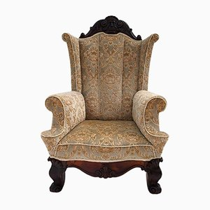 Large Antique Carved Walnut Winged Armchair