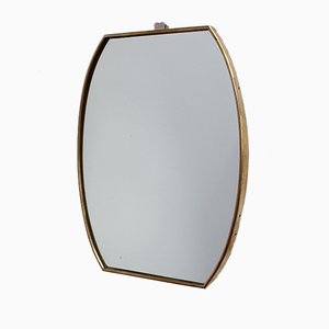 Small Mid-Century Italian Wall Mirror with Brass Frame, 1950s