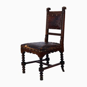 19th Century Renaissance Revival Hand-Carved Chair with Embossed Leather