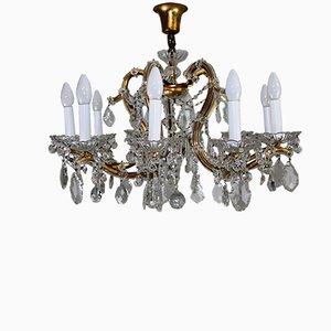 Großer antiker Wiener Kronleuchter mit Anhängern aus Kristallglas