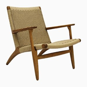 Scandinavian Modern Oak & Paper Cord CH25 Lounge Chair by Hans J. Wegner for Carl Hansen & Søn, 1950s