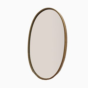 Small Italian Wall Mirror with Beaded Brass Frame, 1950s
