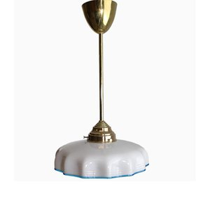 Viennese Brass Pendant with White Opaline Shade, 1900s