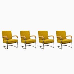 Gelbe Vintage Sessel, 4er Set