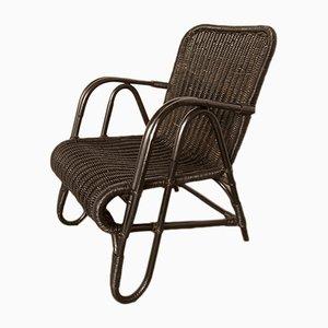 Black Rattan Armchair by Erich Dieckmann, 1940s