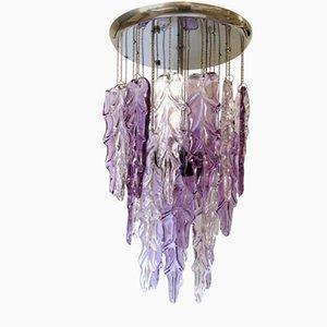 Lámpara de araña italiana de cristal de Murano de color malva de Mazzega, años 70