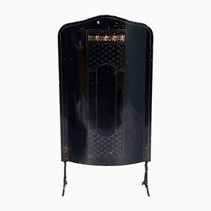 Art Nouveau Fire Screen with Hand Enameled Floral Motif