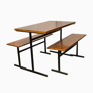 Vintage Teak and Metal Bench