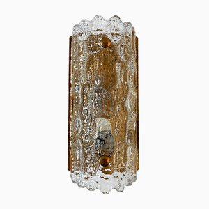 Lámpara de pared Gefion de cristal y latón de Carl Fagerlund para Orrefors & Lyfa, años 60