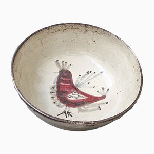 French Ceramic Rooster Motif Bowl by Gustave Reynaud, 1950s