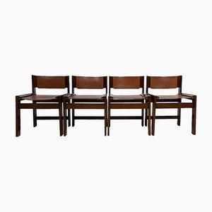 Vintage Esszimmerstühle mit Gestell aus Eiche & Sitz aus cognacfarbenem Leder, 4er Set