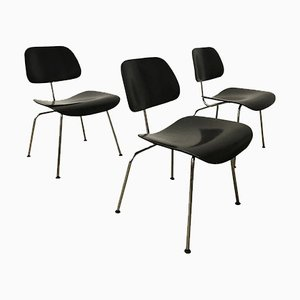 Painted Black DCM Chairs by Ray & Charles Eames for Vitra, 1946, Set of 3