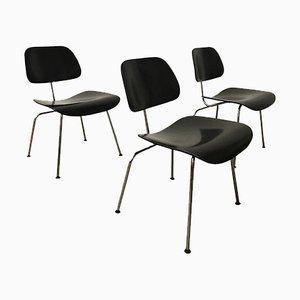 Sedie DCM verniciate di nero di Ray & Charles Eames per Vitra, 1946, set di 3