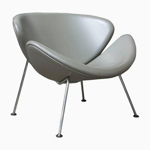 Silver Grey Leather Slice Chair by Pierre Paulin for Artifort, 1960s