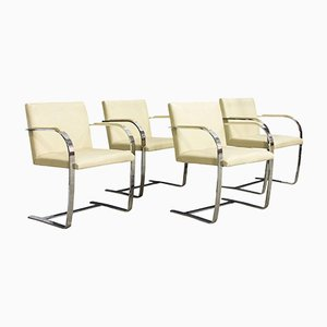Brno Cream Leather Chairs by Ludwig Mies van der Rohe for Knoll, 1920s, Set of 4