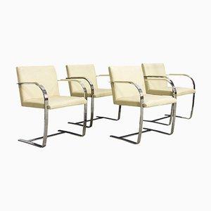 Sedie Brno antiche in pelle color crema di Ludwig Mies van der Rohe per Knoll, anni '20, set di 4