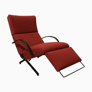 Sillón P40 ajustable en rojo tela de Osvaldo Borsani para Tecno, años 50