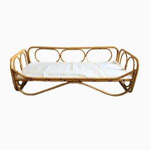 Sofá cama italiano Mid-Century moderno de bambú, años 70