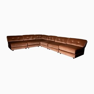 Modular Brown Velvet Corner Sofa, 1970s