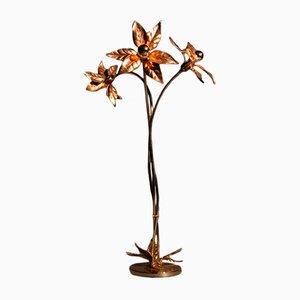 Lámpara de pie con flores de latón macizo de Willy Daro, años 70