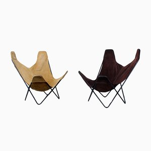 Suede Hammock Sling Lounge Chairs by Jorge Ferrari-Hardoy for Knoll, Set of 2