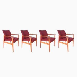 Dänische Armlehnstühle aus Teak von Grete Jalk für Glostrup, 1960er, 4er Set