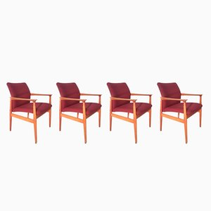 Danish Teak Armchairs by Grete Jalk for Glostrup, 1960s, Set of 4