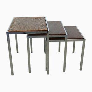 Tavolini ad incastro in metallo cromato e palissandro con ripiano reversibile, anni '60