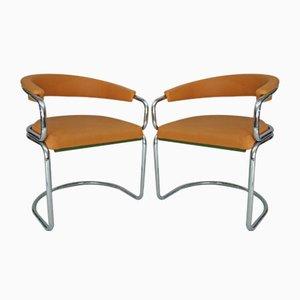 Vintage Tubular Chrome Armchairs, 1970s, Set of 2