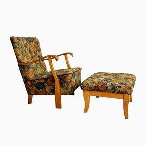 Vintage Armchair & Footstool Set, 1950s