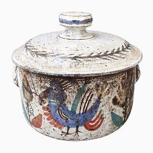 Dekorativer Auflauf mit Deckel aus Keramik von Gustave Reynaud für Le Mûrier, 1950er