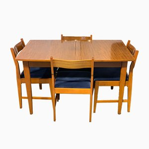 Mid-Century Teak Extending Dining Table Set