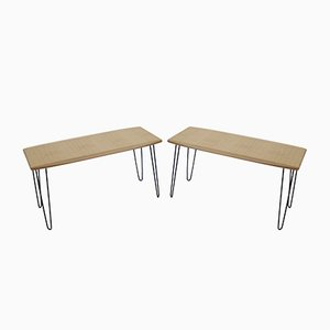 Oak Coffee Table on Hairpin Legs, 1960s, Set of 2
