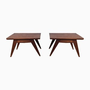 French Mahogany Side Tables, 1950s, Set of 2