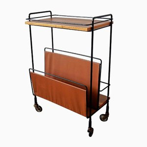Vintage Serving Bar Cart with Magazine Rack, 1960s