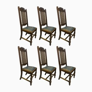 Antique High-Backed Dining Chairs, Set of 6